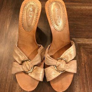 Aldo Golden Buckle Wooden Heel Sandal